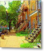 Montreal Stairs Winding Staircases And Sunny Tree Lined Sidewalks Verdun Scenes Carole Spandau  Metal Print
