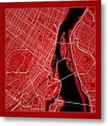 Montreal Street Map - Montreal Canada Road Map Art On Color Metal Print