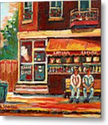 Montreal Street Scene Paintings Metal Print