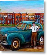 Montreal Taxi Driver 1940 Cab Vintage Car Montreal Memories Row Houses City Scenes Carole Spandau Metal Print