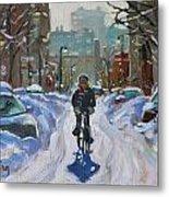 Montreal Winter Fastest Transportation Metal Print