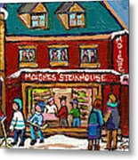 Montreal Winter Hockey At Moishes Metal Print