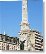 Monument On Restauradores Square In Lisbon Metal Print