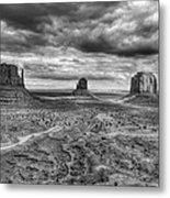 Monument Valley Black And Withe Metal Print