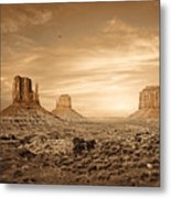 Monument Valley Golden Sunset Metal Print by Susan Schmitz