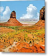 Monument Valley In Spring Panoramic Painting Metal Print