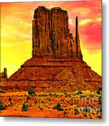 Monument Valley Right Mitten Sunrise Painting Metal Print