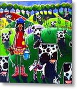 Moo Cow Farm Metal Print