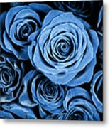 Moody Blue Rose Bouquet Metal Print