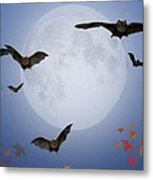 Moon And Bats Metal Print