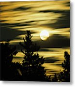 Moon And Clouds, Mont-saint-bruno Metal Print