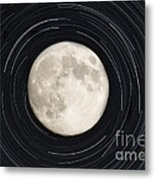 Moon And Startrails Metal Print