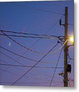 Moon And Wires Metal Print