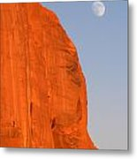 Moon At Monument Valley Metal Print