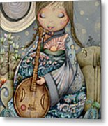 Moon Guitar Metal Print