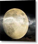 Moon In The Fog Metal Print