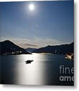Moon Light Reflected Over An Alpine Lake Metal Print
