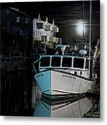 Moon Lit Harbor Metal Print
