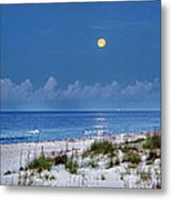 Moon Over Beach Metal Print by Michael Thomas