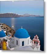 Moon Over Blue Domed Church In Oia Santorini Greece Metal Print by Matteo Colombo