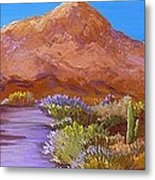 Moon Over Camelback Metal Print