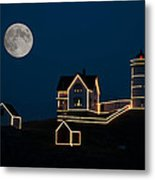 Moon Over Cape Neddick Metal Print by Guy Whiteley