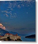 Moon Over Dubrovnik's Walls Metal Print