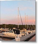 Moon Over Egg Harbor Marina Metal Print