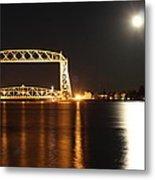 Moon Over Lake Superior Metal Print