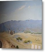Moon Over Lost Wages In Train Room Metal Print