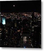Moon Over New York City Metal Print