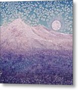 Moon Over Snowy Peaks Metal Print