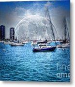 Moon Over The City Harbor Metal Print