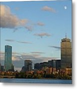 Moon Over The Prudential In Boston Metal Print