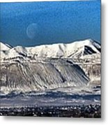 Moon Over The Snow Covered Mountains Metal Print