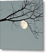 Moon Peaking Thru At 5pm Metal Print