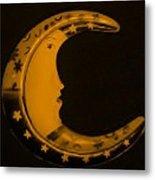 Moon Phase In Orange Metal Print