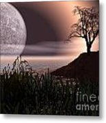 Moon Rise On Another World Metal Print