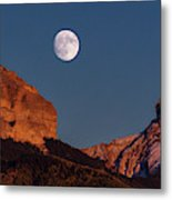 Moon Rise Over Cimarron Mountain Range Metal Print