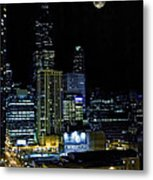 Moon Rise Over Downtown Chicago And The Willis Tower #2 Metal Print