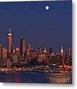 Moon Rise Over Manhattan Metal Print