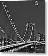 Moon Rise Over The George Washington Bridge Bw Metal Print