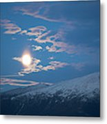 Moon Rise Over The Presidential Range Metal Print