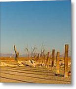 Moon Rise Over Waste Land Metal Print