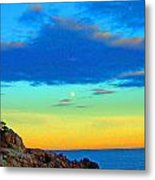 Moon Rising In New England Metal Print