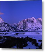 Moon Sets Over Behind The Tetons Panorama Metal Print
