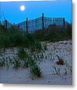 Moon Setting At Beach Plum Island Metal Print