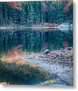Moon Setting Fall Foliage Reflection Metal Print