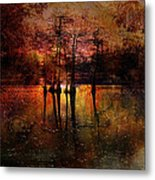 Moon Setting Over Reelfoot Lake Metal Print by J Larry Walker