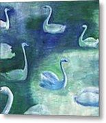 Moon Swans Metal Print